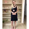 Vestido de festa curto micro paetê, com alça larga, vazado na cintura, azul marinho