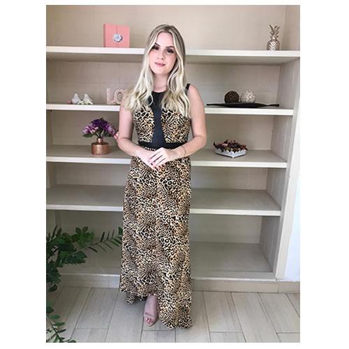 Vestido longo mullet, animal print, com detalhes de couro ecológico