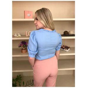Blusa meia manga bufante Azul com detalhe franzido