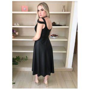 Vestido Midi evasê de couro com alça larga cor preto