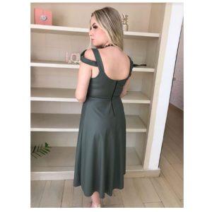 Vestido Midi evasê de couro com alça larga