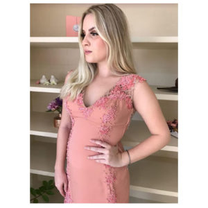 Vestido de festa curto Rosê decote coração com bojo