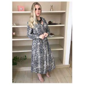 Vestido longo Chemise, com amarração