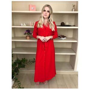 Vestido longo Chemise, com amarração vermelho