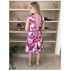 Vestido de festa estampa floral, bordado
