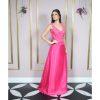 Vestido de festa madrinha, pink com renda soutache bordado, saia evasê de musseline