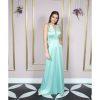 vestido mãe de noiva, verde água, verde menta, com decote V alto, alça fina, cinto fino bordado, vestido semi sereia