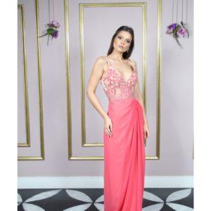Vestido de festa madrinha, bicolor, com busto decote V