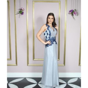 Vestido de festa madrinhas, bicolor, cinza claro, decote V
