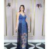Vestido de festa madrinha, azul roial, azul marinho, com renda bordada, e detalhe transparente na saia, barrado bordado