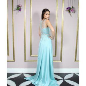 Vestido de festa madrinha, azul serenity, com bordado