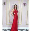 Vestido de festa madrinhas, vermelho com bordado até o quadril e decotado nas costas