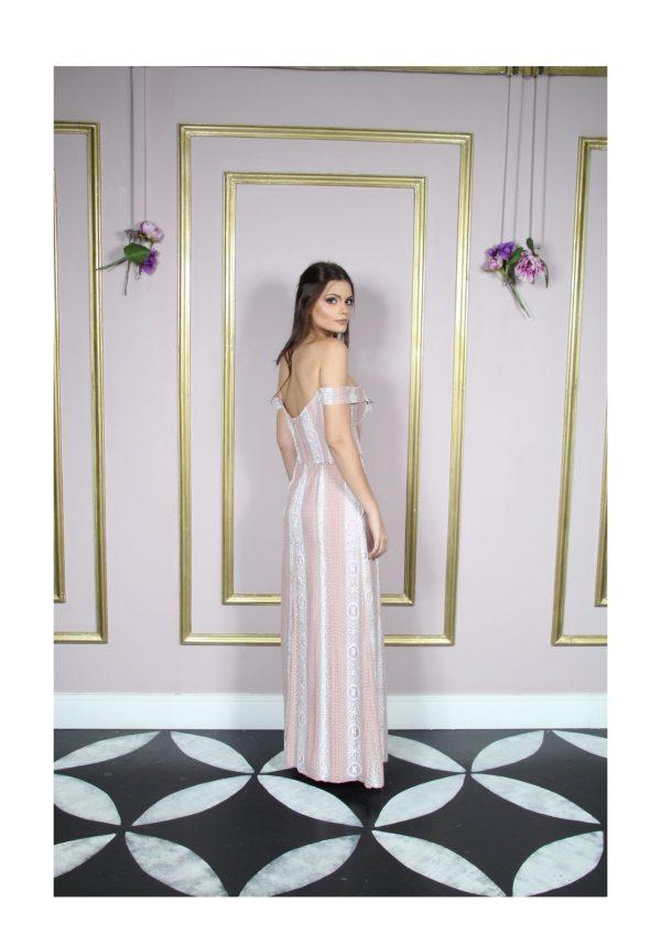 Vestido de festa madrinha, rosê, rosa claro, ombro a ombro, saia semi sereia
