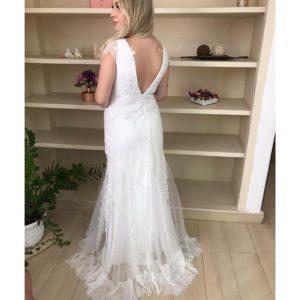 Vestido de noiva Boho chic, decote V, com mini mangas