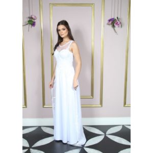 Vestido de noiva, decote redondo e busto bordado