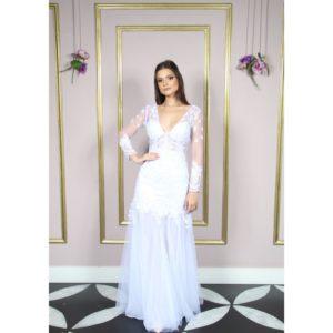 Vestido de noiva sereia, com renda soutache aplicada