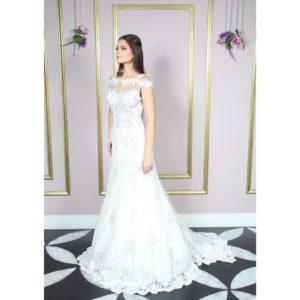 Vestido de noiva rendado de soutache semi sereia