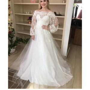 Vestido de noiva ombro a ombro com manga bufante