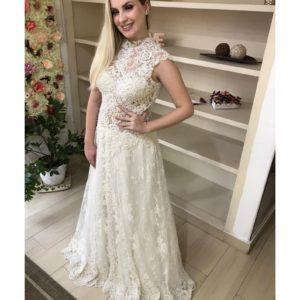 Vestido de noiva, busto soutache bordado com pedrarias