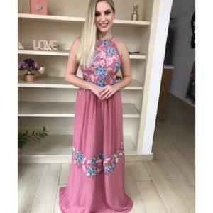 Vestido de festa, na cor rosê antigo, frente única