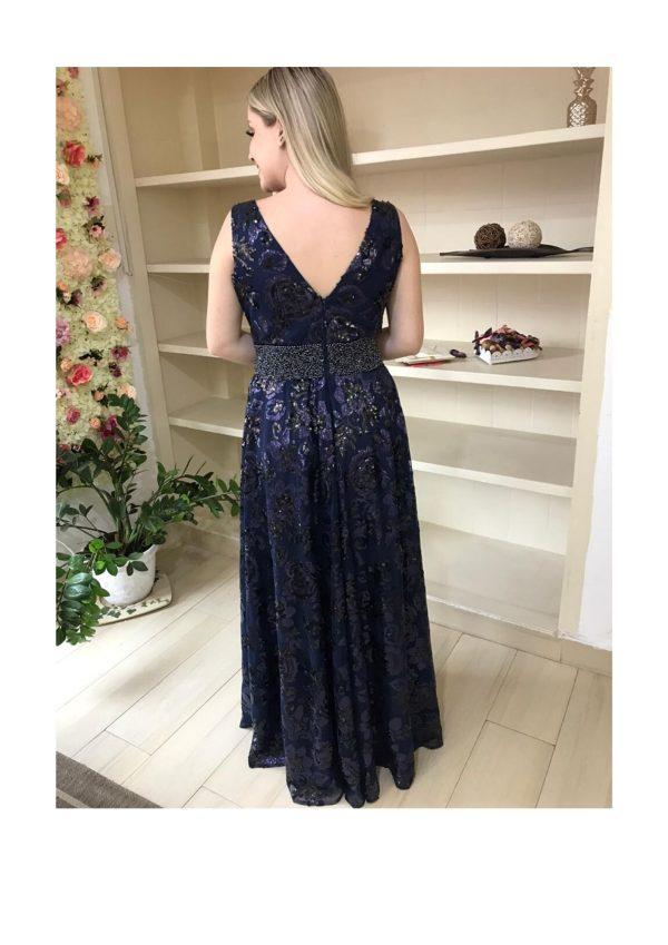 Vestido de festa, decote V, paetê azul marinho, mãe de noiva, cintura marcada com bordado de pedrarias