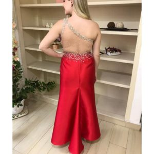Vestido de festa zibeline vermelho, ombro só com busto