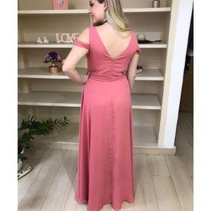 Vestido de festa madrinhas, na cor rosê, decote V