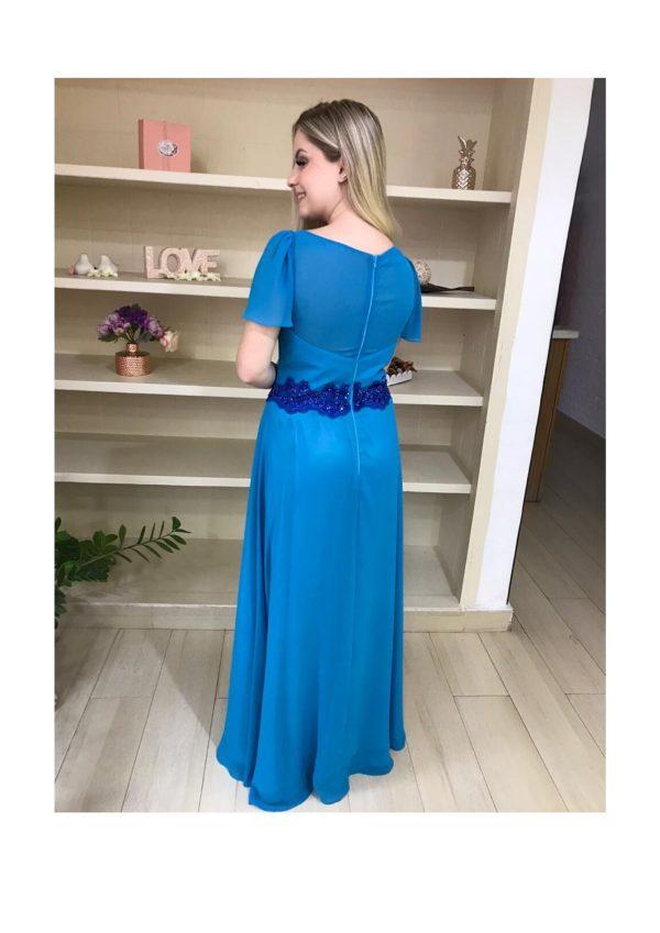 Vestido de festa madrinha, decote V, manga curta soltinha, com detalhe de renda bordada no decote e na cintura