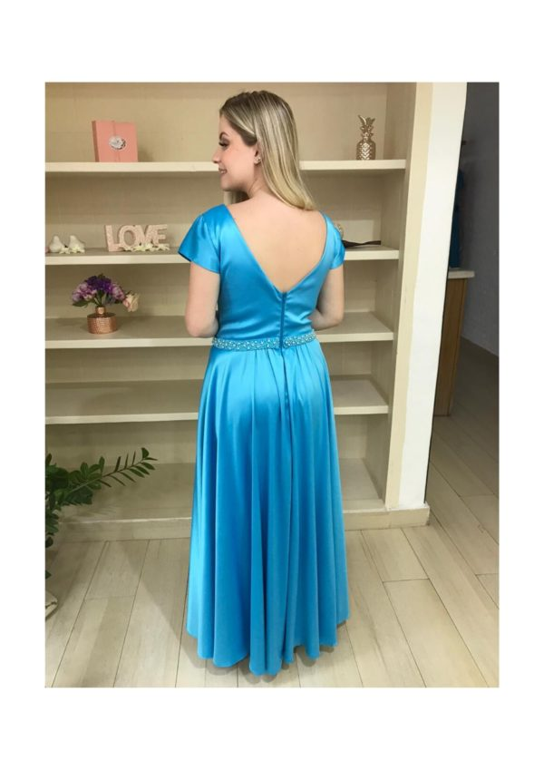 Vestido de festa madrinhas, azul tifany, decote V, com manga curta e busto bordado com pedrarias