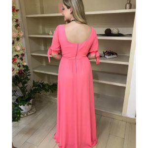 Vestido de festa madrinhas,rosa, decote quadrado