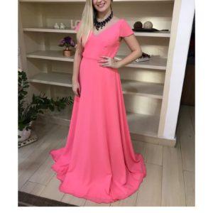 Vestido de festa madrinha,rosa, decote V