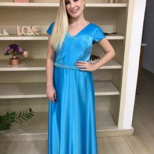 Vestido de festa madrinhas, azul tifany, decote V