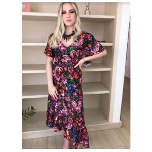 Vestido Midi, floral, decote transpassado, manga curta