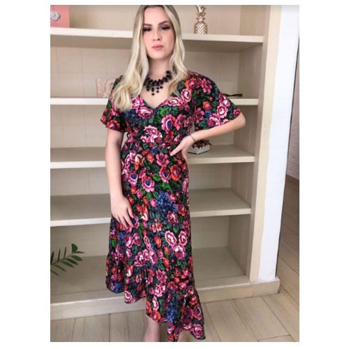Vestido Midi, floral, decote transpassado, manga curta solta e babado na barra