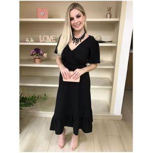 Vestido midi decote em v preto